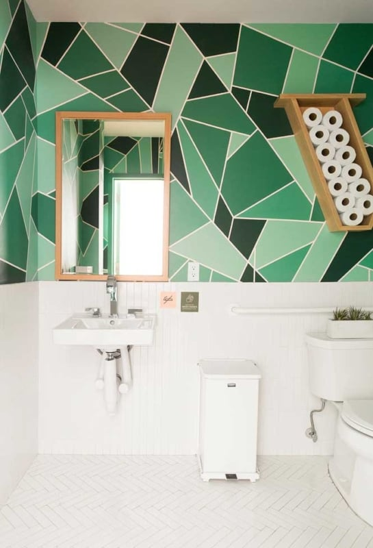 Banheiro moderno verde