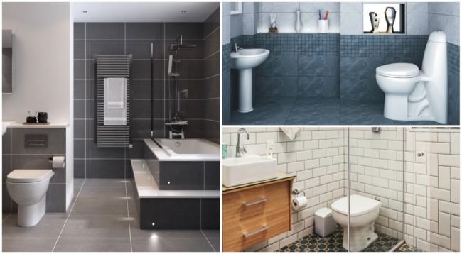 Banheiros com parede de cerâmica