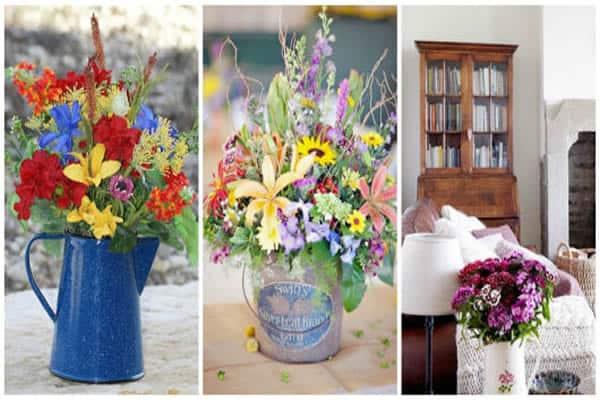 Casa com flores do campo na decoração