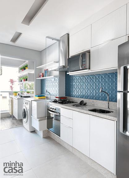 Cerâmica 3D na parede da cozinha