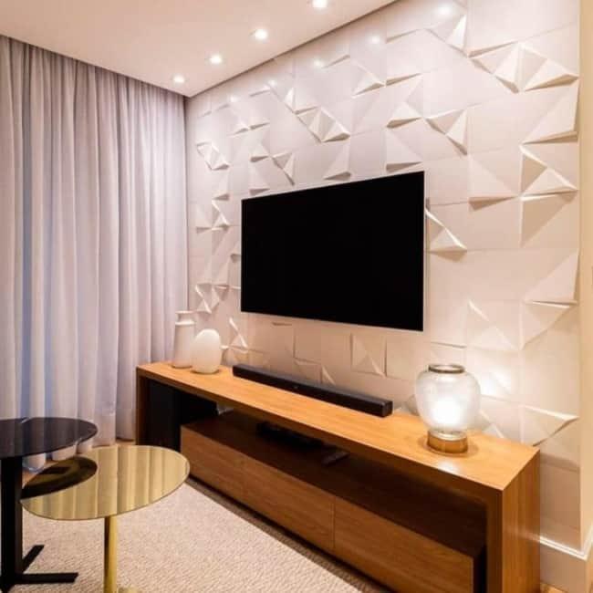 Cerâmica para parede na sala de estar
