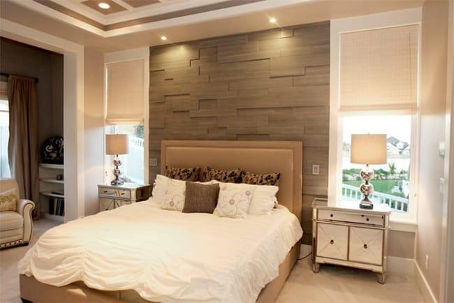 Cerâmica que imita madeira no quarto
