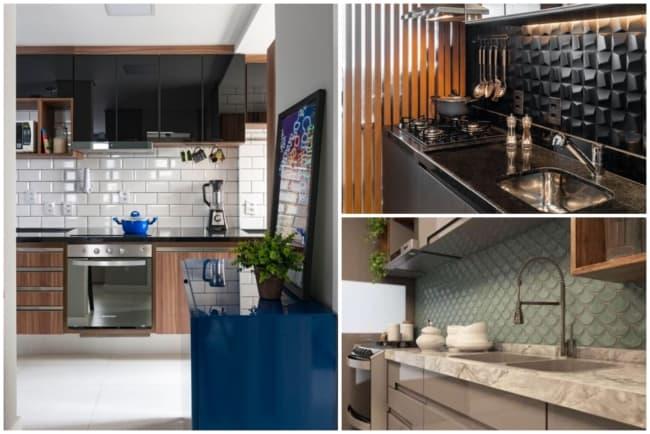 Cozinhas com parede de cerâmica