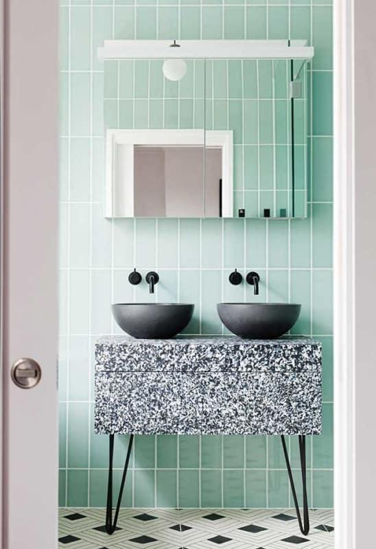 Decoração de banheiro em tons de verde