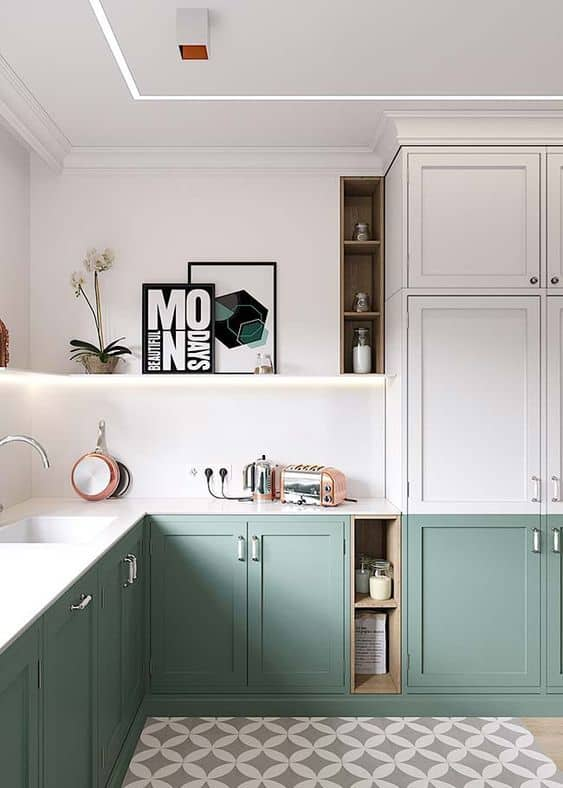 Decoração minimalista verde na cozinha