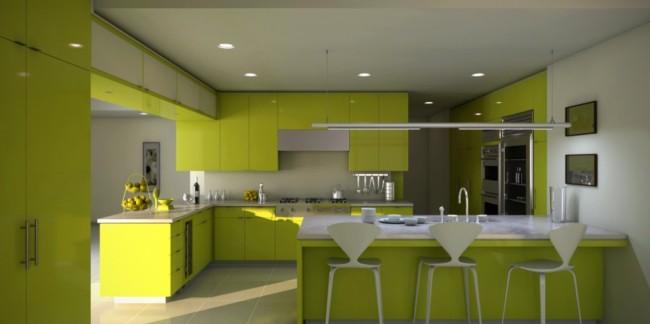 Decoração verde limão na cozinha