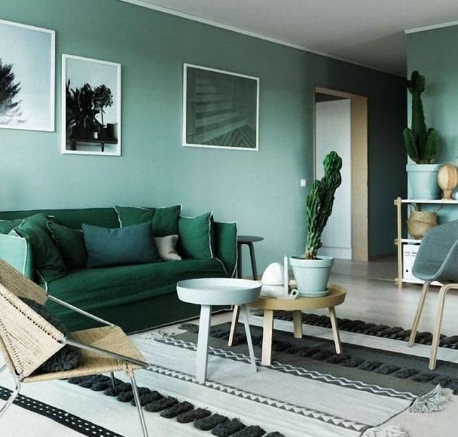 Decoração verde na sala de estar