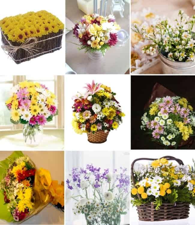 Diversos arranjos com flores do campo