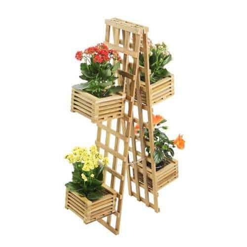 Escada floreira de madeira