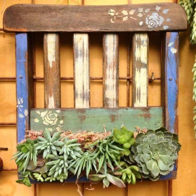 Floreira de madeira rústica com suculentas