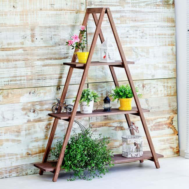 Floreira escada de madeira