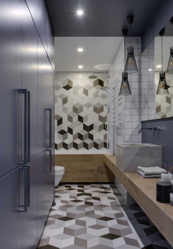 Luminárias em banheiro