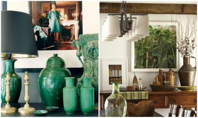 Objetos decorativos verdes