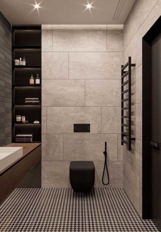 Parede de cerâmica bege em banheiro moderno