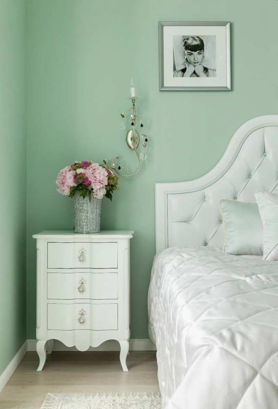Parede verde para quarto feminino