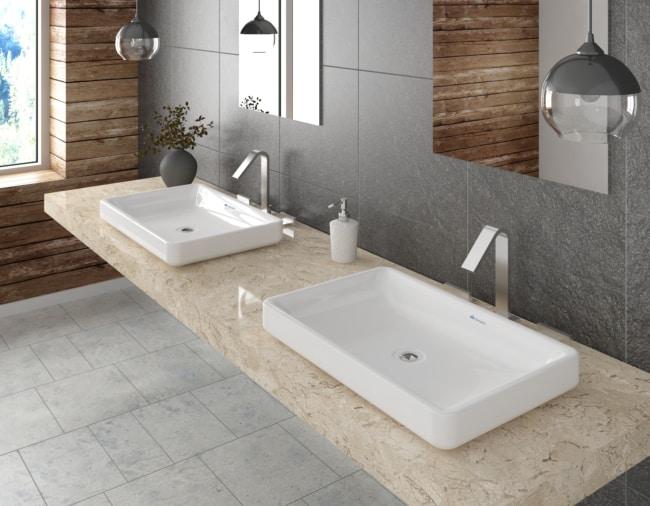 Pia de banheiro moderna grande
