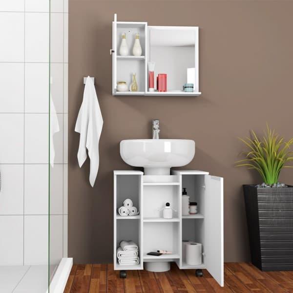 Pia de banheiro simples com armario