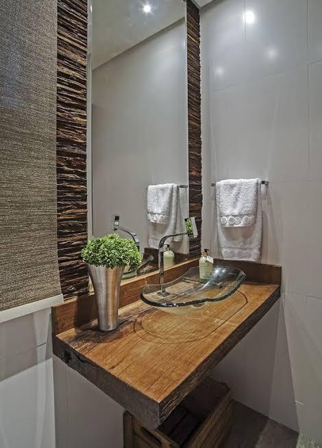 Pia de madeira para banheiro pequena