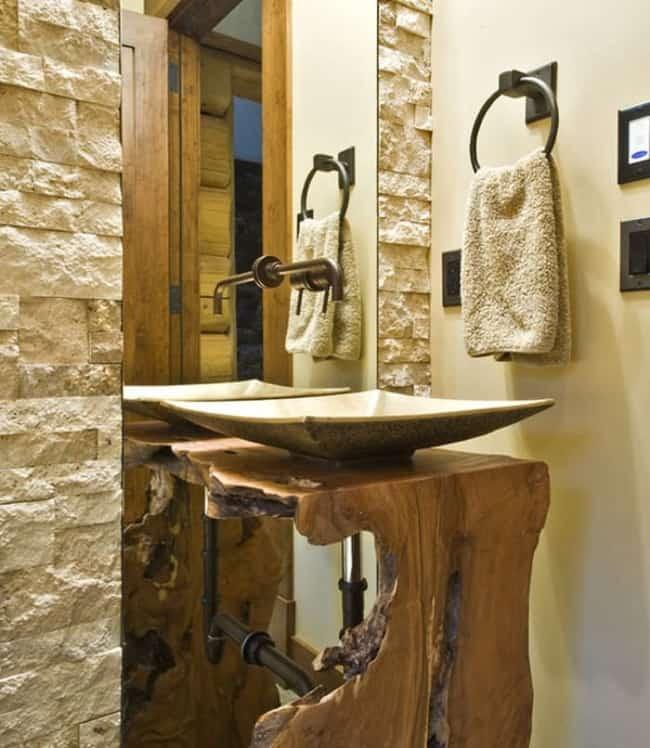 Pia de madeira para banheiro rústica