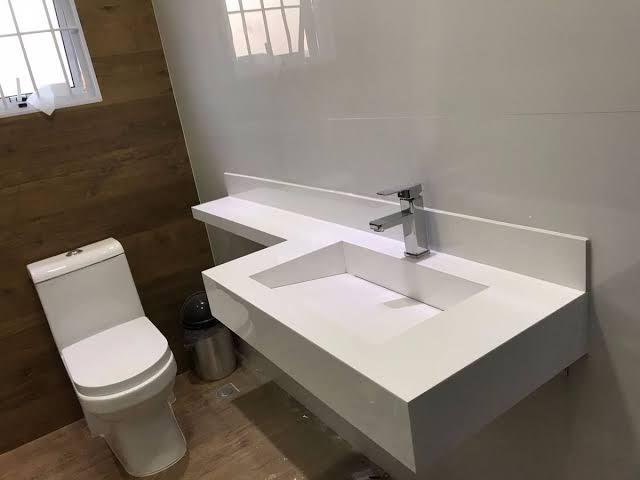 Pia de porcelanato para banheiro com cuba