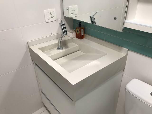 Pia de porcelanato para banheiro ideias