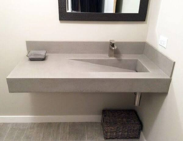 Pia de porcelanato para banheiro