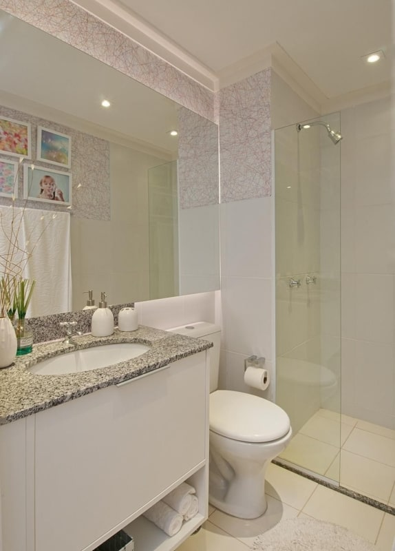 Pia simples de mármore para banheiro