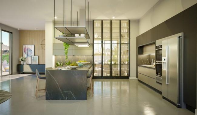 Porta de ferro e vidro para cozinha moderna