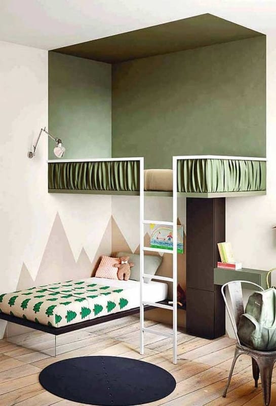 Quarto infantil com decoração verde