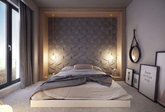 Revestimento cerâmico 3D para parede de quarto