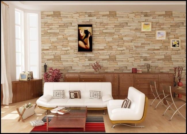 Sala com cerâmica que imita pedra