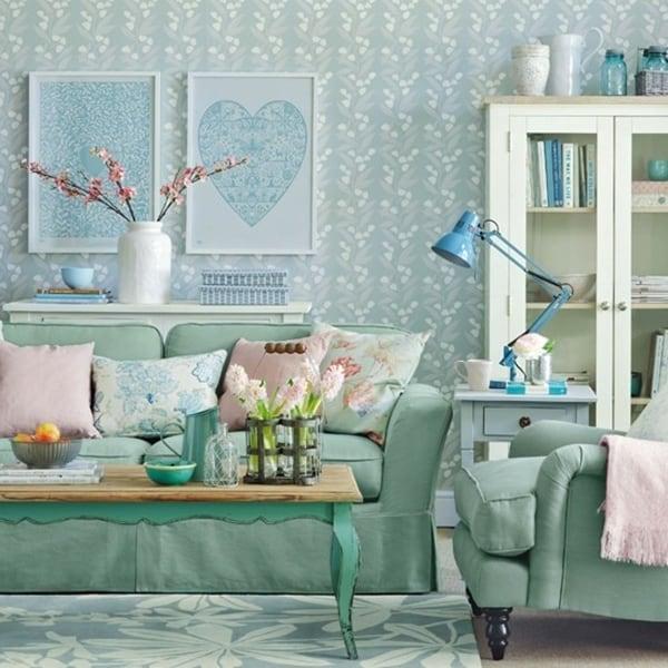 Sala com decoração feminina verde clarinho