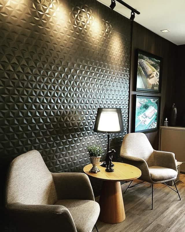 Sala com revestimento cerâmico 3D