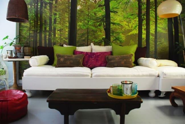 Sala composta com tons de verde