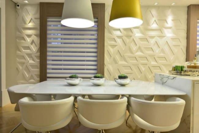 Sala de jantar com parede 3D