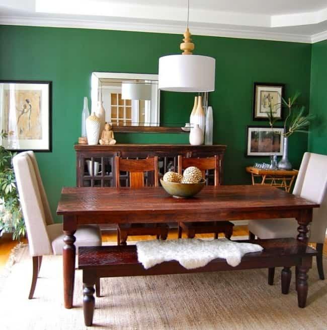Sala de jantar verde e marrom