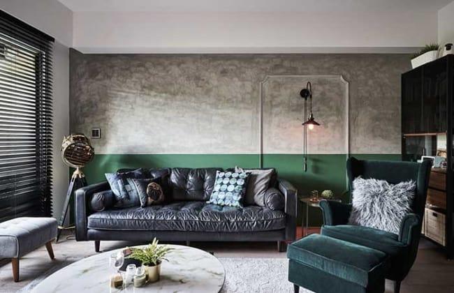 Sala industrial com verdes escuros na decoração