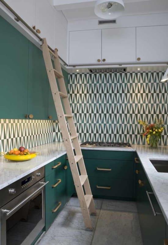 Sugestão de armários verdes para cozinha