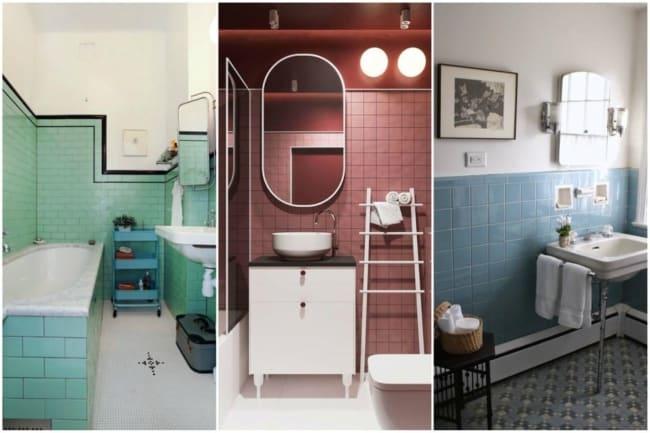 Três ideias de banheiros coloridos com cerâmica