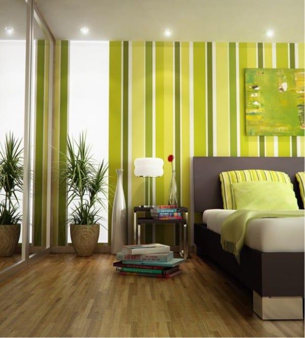 Verdes vibrantes na decoração do quarto