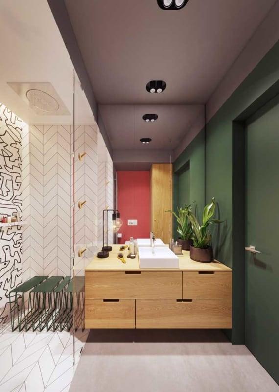 banheiro cor verde musgo