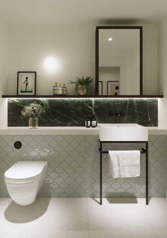 banheiro pequeno verde musgo