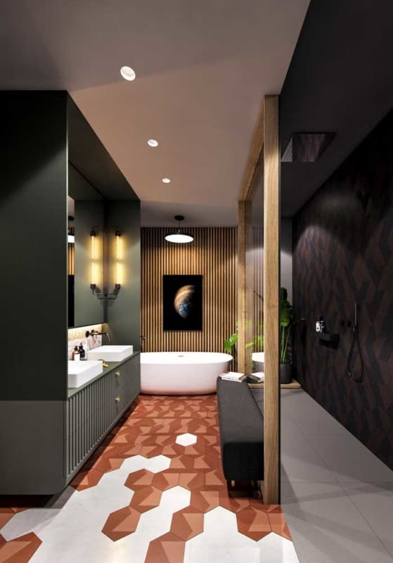 banheiro verde musgo
