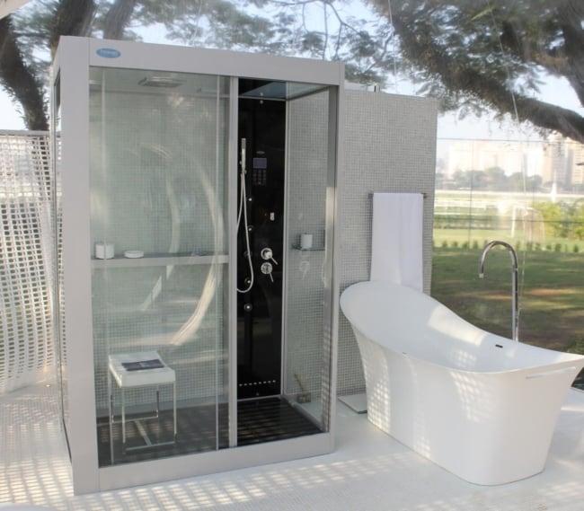 cabine de banho fibra externa