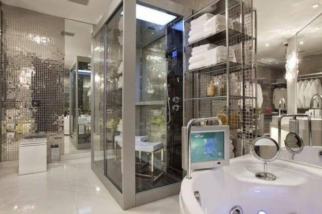 cabine de banho moderna cinza