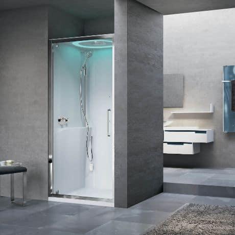cabine de banho simples branca