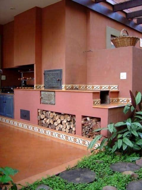cor terracota na cozinha externa