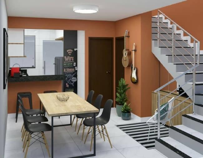 cor terracota na cozinha integrada