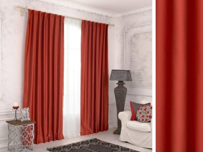 cor terracota nas cortinas na quarto