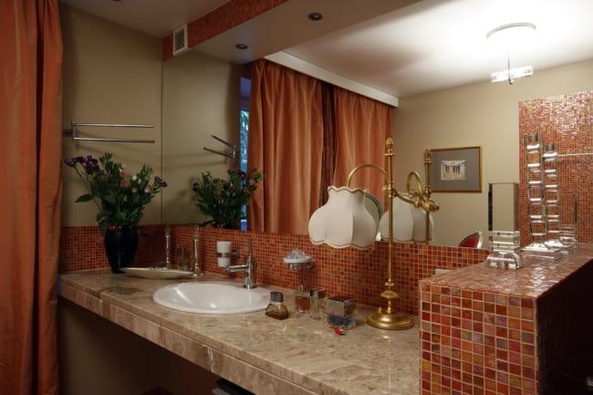 cor terracota no banheiro ideias